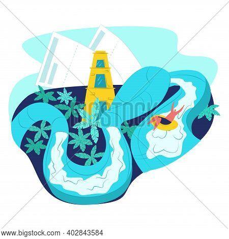 United Arab Emirates Tropical Ocean Rest Place, Uae Amusement Park, Cheerful People Flat Vector Illu
