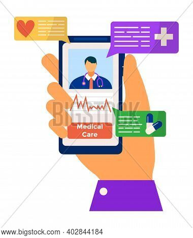 Modern Around The Clock Online Medical Care, Man Hand Hold Smartphone Remote Therapeutic Assistance