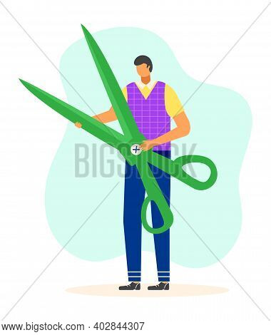 Male Tiny Character Holding And Carry Large Scissors, Concept Tailor Professional Worker Flat Vector