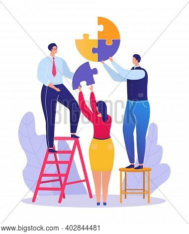 Business Teamwork Job, Businessman Standing Ladder Hold Puzzle Detail, Businesswoman Help Firm Flat