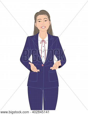 Confident Speaking Woman In Blue Suit Isolated On White. Spokesperson At Lecture, Workshop, Seminar.