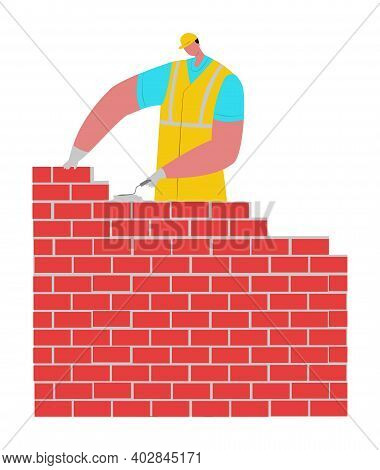 Builder Male Character In Protect Helmet Building Brick Wall, Construct Masonry Flat Vector Illustra
