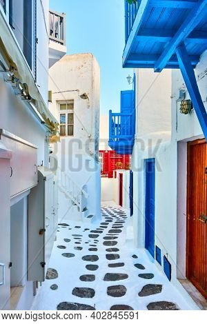 Greece, Mykonos island. Picturesque street in Chora town with greek traditional houses