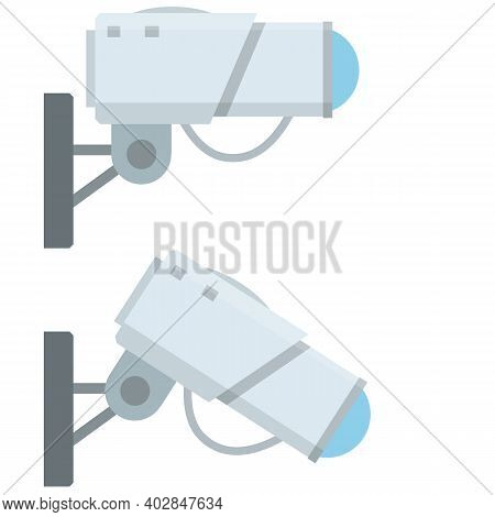 Video Surveillance Camera. Cartoon Flat Illustration. Fixation In The Wall. White Cctv Device With B