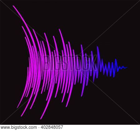 Music Wave Black Background. Color Pulse Audio Player Banner. Futuristic Waveform Technology Jpeg Il