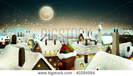 Peaceful Town Under Moonlight At Christmas Eve | Holiday Greeting Card, Banner | Layered Vector Background