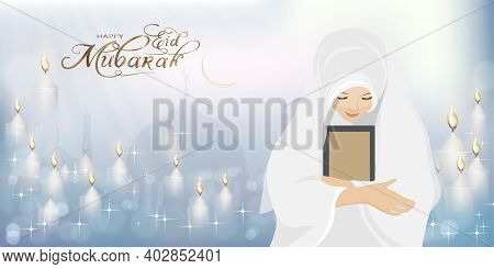 Eid Mubarak With Mosque Silhouette With Female Muslim Prayer Praying To God,muslim Woman With The Ho