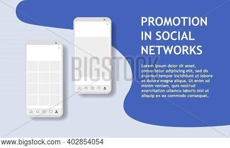 Modern Mockup For Marketing Advertising Design. Phone Stories Social Networks. Promotion In Social M
