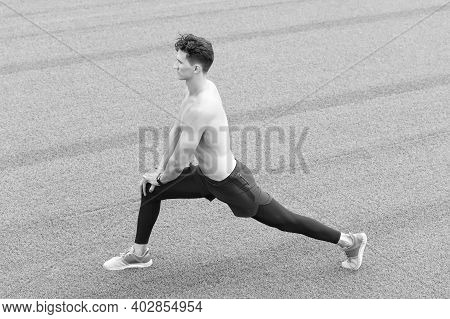 Healthy Life And Self-control Concept. Young Citizen Exercising Outside And Standing In Yoga. Young