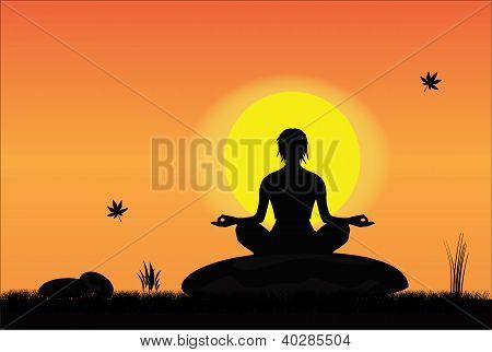 A girl meditating in a peaceful setting