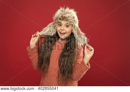 Just Glad. Caring Fur Garments. Soft Furry Accessory. Child Long Hair Soft Hat Enjoy Softness. Winte