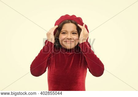 What Are You Talking About. Happy Girl. French Style Child. Parisian Girl In Beret. Fashion Portrait