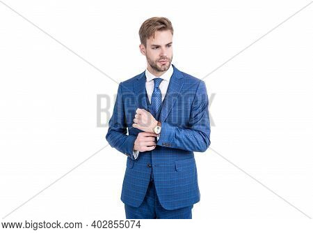 Young Realtor Fix Sleeve Button Wearing Fashion Navy Suit In Business Formal Style Isolated On White
