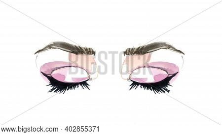 Eyes And Long Eyelashes In Watercolor Technique. Pink Eyeshadows And Closed Eyes. Hand Drawn Illustr