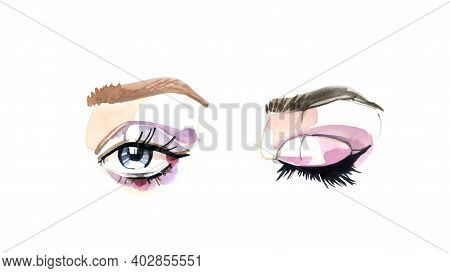 Eyes And Long Eyelashes In Watercolor Technique. Open And Closed Eye With Pink Eyeshadows. Brown Eye