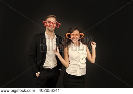 Love Forever. Couple In Love Celebrate Valentines Day. Happy Girlfriend And Boyfriend With Party Loo