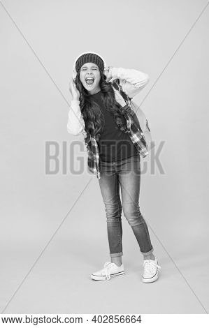 Have More Fun In Singing. Happy Child Sing Song Yellow Background. Little Girl Enjoy Singing. Headph