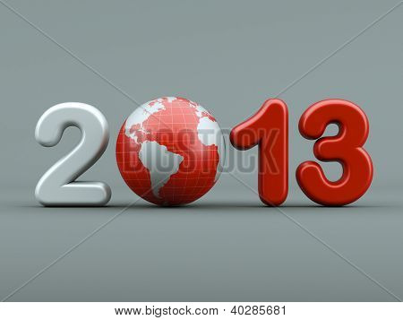3d new year 2013 shape on white background with 3d globe