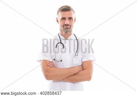 Confident Doctor With Phonendoscope Isolated On White. Coronavirus Pneumonia Pandemic. Virus Treatme
