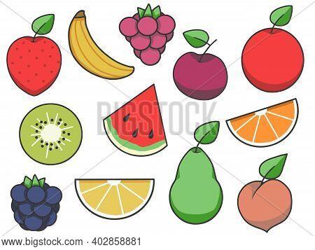Simple Fruit Vector Icon Collection With Strawberry, Apple, Pear, Lemon, Watermelon, Peach, Kiwi, Ba