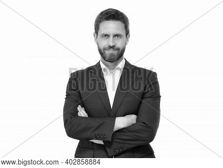 Wearing Formal Clothes Gives Confidence. Confident Man Keep Arms Crossed Isolated On White. Senior M