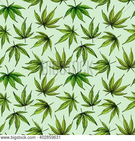 Seamless Pattern Of Green Cannabis Leaves On A Green Background. Green Hemp Leaves. Hand Drawn Illus