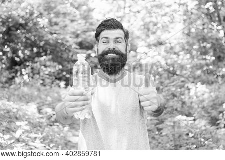 You Must Hydrate. Discover New Places. Time For Picnic. Guy With Moustache Drink Water. Mature Beard