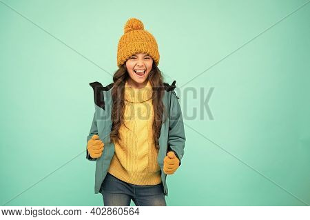 Active Rest. Outdoor Activity For Kids. Small Girl Sweater. Hat And Gloves Accessory. No Flu. Warm C
