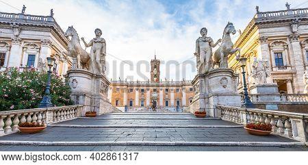 Rome, Italy - Circa August 2020: Staircase To Capitolium Square (piazza Del Campidoglio). Made By Mi
