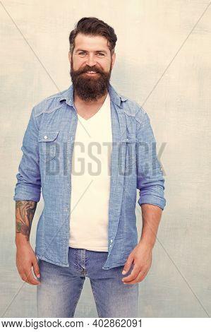 Denim Shirt Essential Basic Garment Modern Wardrobe. Wear Denim Almost Every Single Day. Male Casual