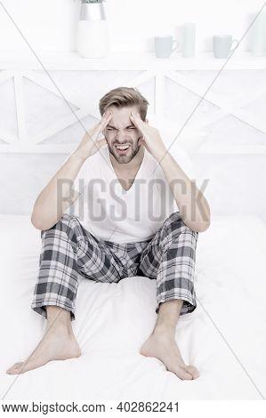 Feel Pain And Stress. Need More Time To Sleep. Menswear Pajamas. Pajamas For Home Relax. Male Feelin
