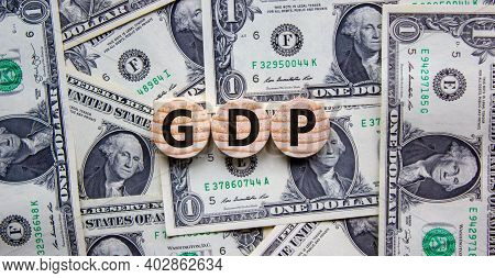 Gdp, Gross Domestic Product Symbol. Concept Word 'gdp, Gross Domestic Product' On Circles On A Beaut