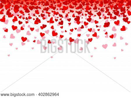 Background With Red Hearts. Hearts Confetti Banner For Valentine's Day. Vector Illustration.