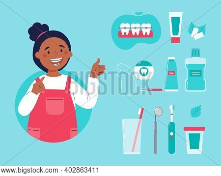 Teenager Showing Her Smile With Dental Braces. Trendy Girl With Various Accessories For Daily Dental