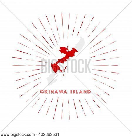 Okinawa Island Sunburst Badge. The Island Sign With Map Of Okinawa Island With Japanese Flag. Colorf