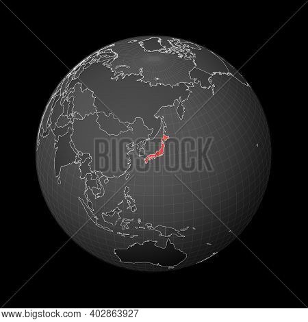 Dark Globe Centered To Japan. Country Highlighted With Red Color On World Map. Satellite World Proje