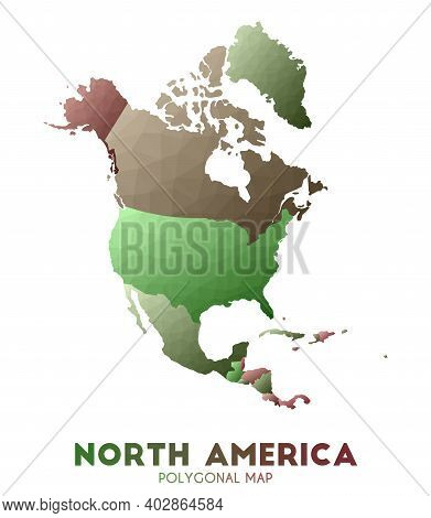 North-america Map. Actual Low Poly Style Continent Map. Mesmeric Vector Illustration.