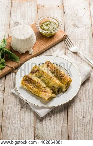 cannelloni with pesto sauce and ricotta cheese