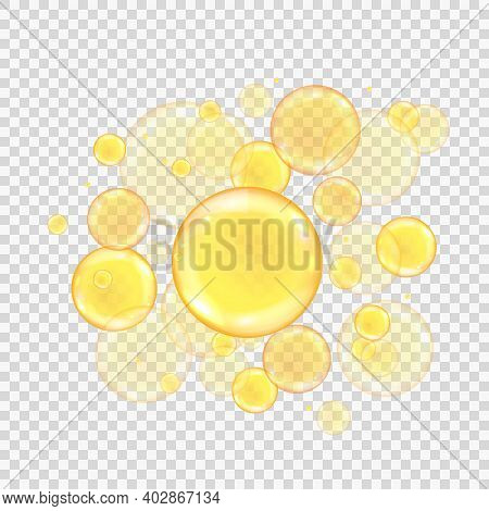 Oil Golden Bubbles Isolated On Transparent Background. Realistic Gold Collagen Balls. Oily Vitamin S