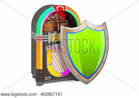 Classic Jukebox With Shield, 3d Rendering Isolated On White Background