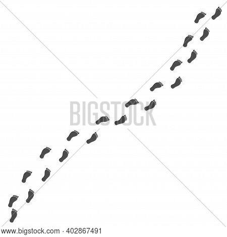 Step Footprints Paths. Bare Foot Prints. Black Traces Of Human. Human Foot Print In Path