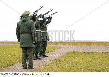 Three-volley Salute.its A Ceremonial Act Performed At Military As Part Of The Drill And Ceremony Of