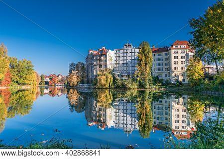 Berlin, Germany - November 7, 2020: Street Lietzenseeufer With Buildings Of Bootshaus Stella, Pensio