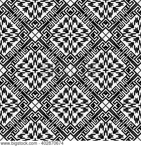 Textured Black And White Houndstooth Seamless Pattern. Vector Ornamental Background. Modern Hounds T