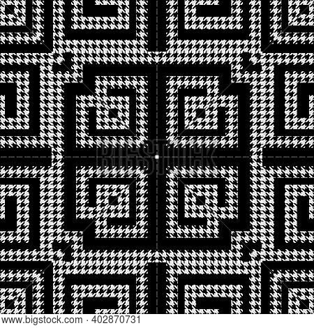 Houndstooth Textured Black And White Seamless Pattern. Vector Ornamental Background. Classic Hounds