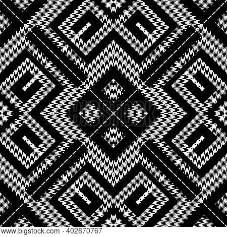 Textured Black And White Houndstooth Seamless Pattern. Vector Ornamental Background. Classic Hounds