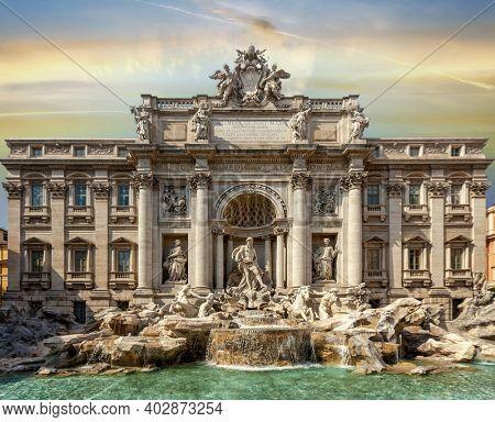 World famous fountain di Trevi in Rome
