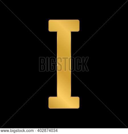 Golden Roman Numeral One On Black Background. Vector Illustration.