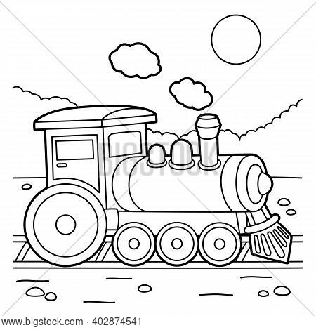 Cute And Funny Coloring Page Of A Steam Locomotive. Provides Hours Of Coloring Fun For Children. To