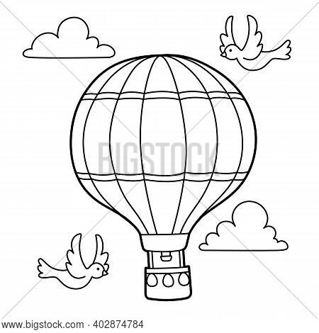 Cute And Funny Coloring Page Of A Hot Air Balloon. Provides Hours Of Coloring Fun For Children. To C